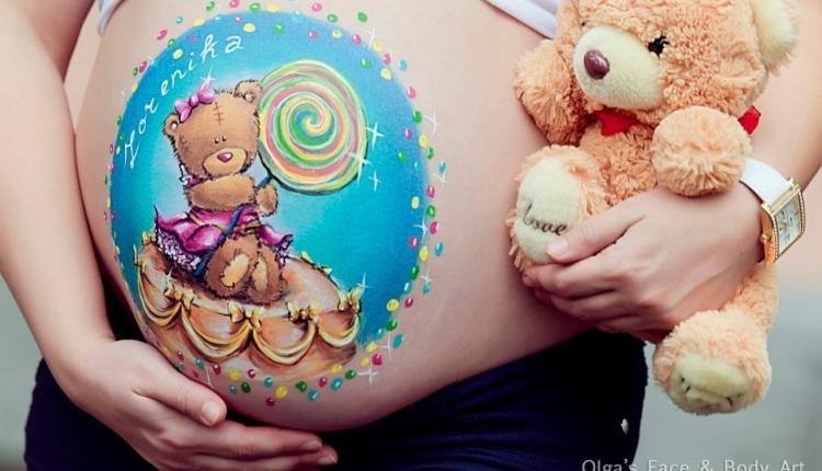 Беременный боди-арт: рисуем на живтике